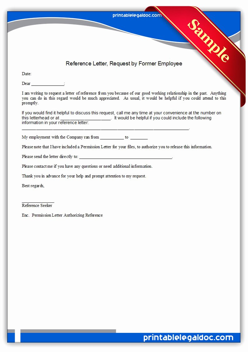 Letter Of Recommendation Request form Beautiful Free Printable Reference Letter Requested by Employee