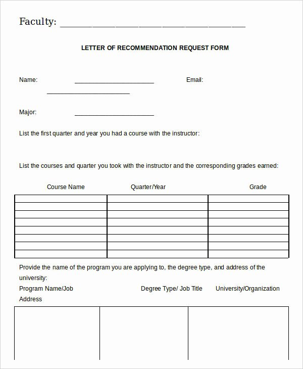 Letter Of Recommendation Request form Best Of 21 Re Mendation Letter Templates In Doc