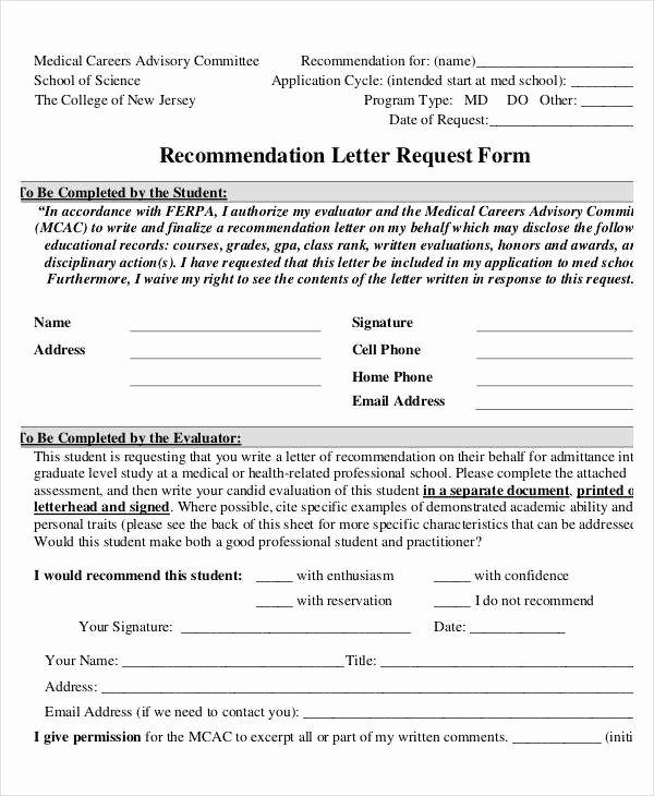 Letter Of Recommendation Request form Fresh 37 Simple Re Mendation Letter Template Free Word Pdf