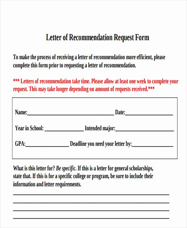 Letter Of Recommendation Request form Fresh 45 Free Re Mendation Letter Templates