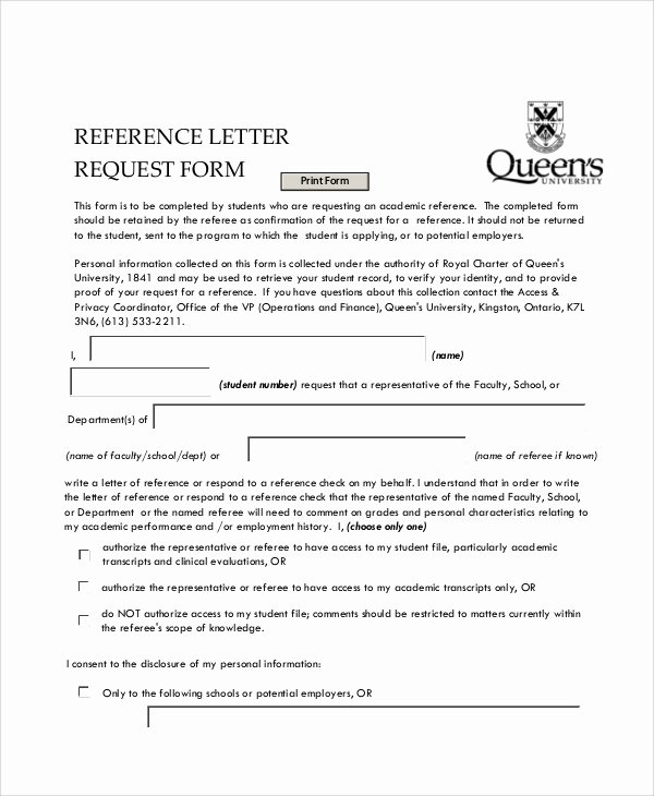 Letter Of Recommendation Request form Lovely 10 Sample Letter Request forms