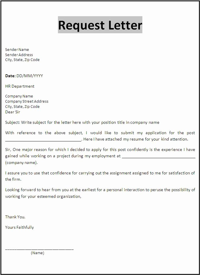 Letter Of Recommendation Request Luxury Request Reference Letter Template