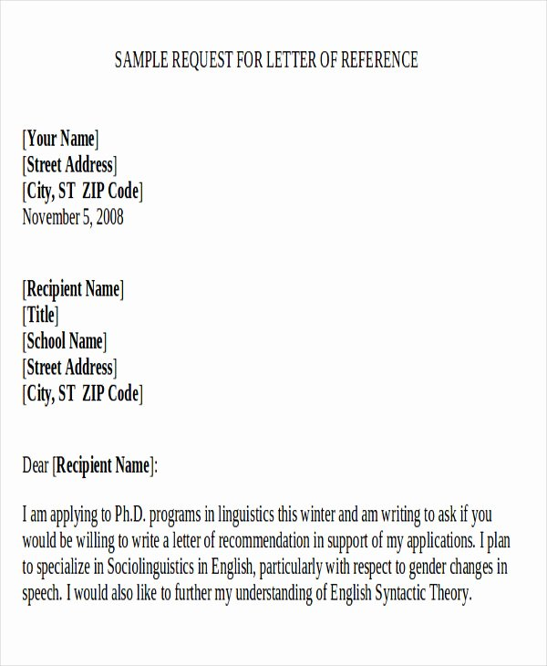 sample re mendation request letter