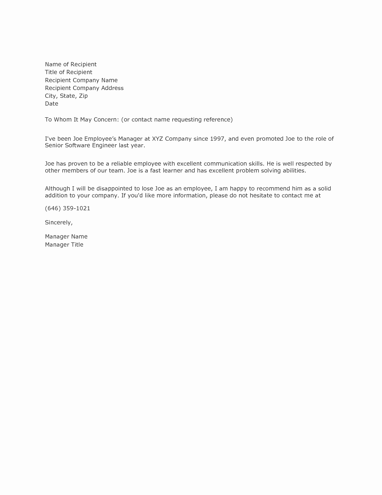 Letter Of Recommendation Request Template Lovely Example Reference Letterexamples Of Reference Letters