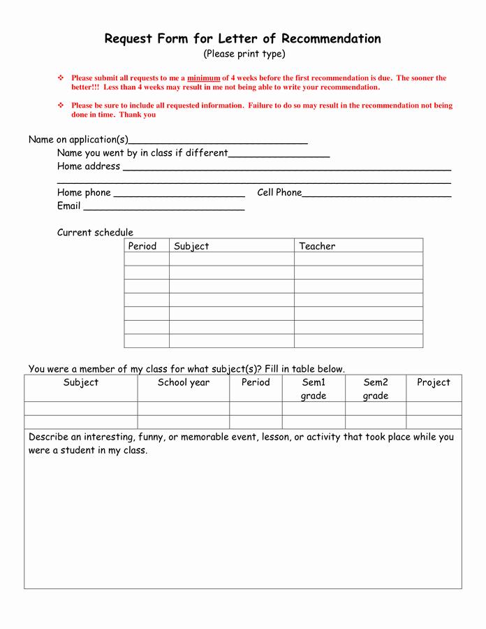 Letter Of Recommendation Request Unique Request form for Letter Of Re Mendation In Word and Pdf