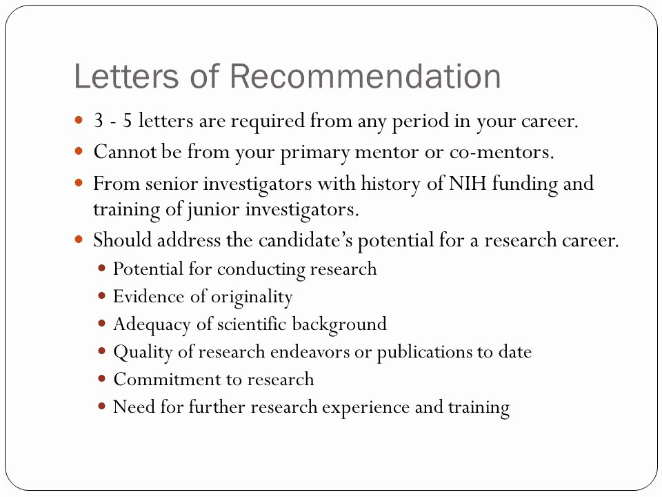 Letter Of Recommendation Requirements Awesome Writing Nih Career Development K Awards Ppt Video