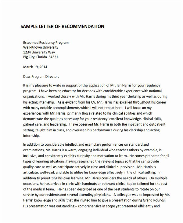 Letter Of Recommendation Residency Elegant 89 Re Mendation Letter Examples & Samples Doc Pdf