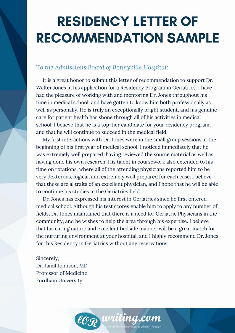 Letter Of Recommendation Residency Fresh Professional Residency Letter Of Re Mendation Sample