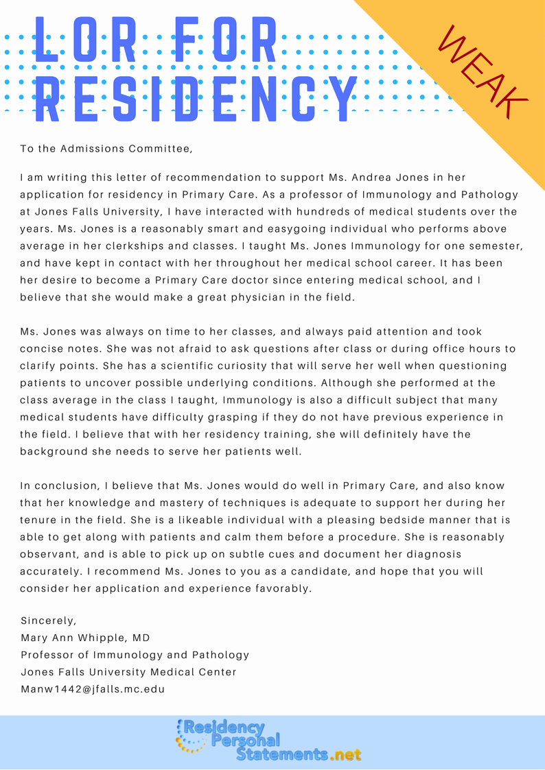 Letter Of Recommendation Residency Inspirational Sample Letter Of Re Mendation for Residency