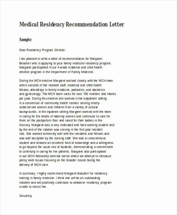 Letter Of Recommendation Residency Lovely 89 Re Mendation Letter Examples & Samples Doc Pdf