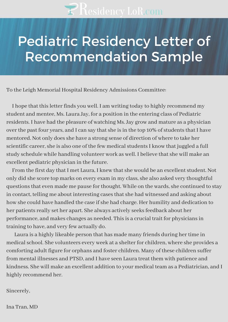 Letter Of Recommendation Residency Lovely Best Pediatric Residency Letter Of Re Mendation Sample