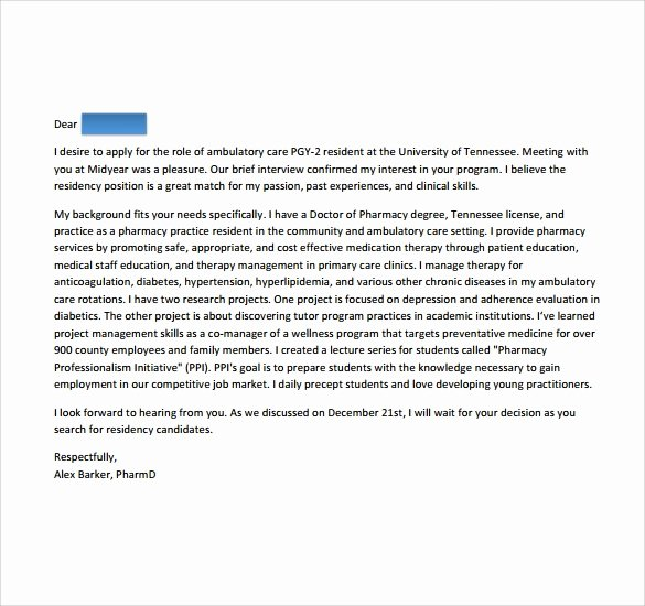 Letter Of Recommendation Residency Template Best Of Sample Pharmacy Residency Letter Of Intent 3 Documents