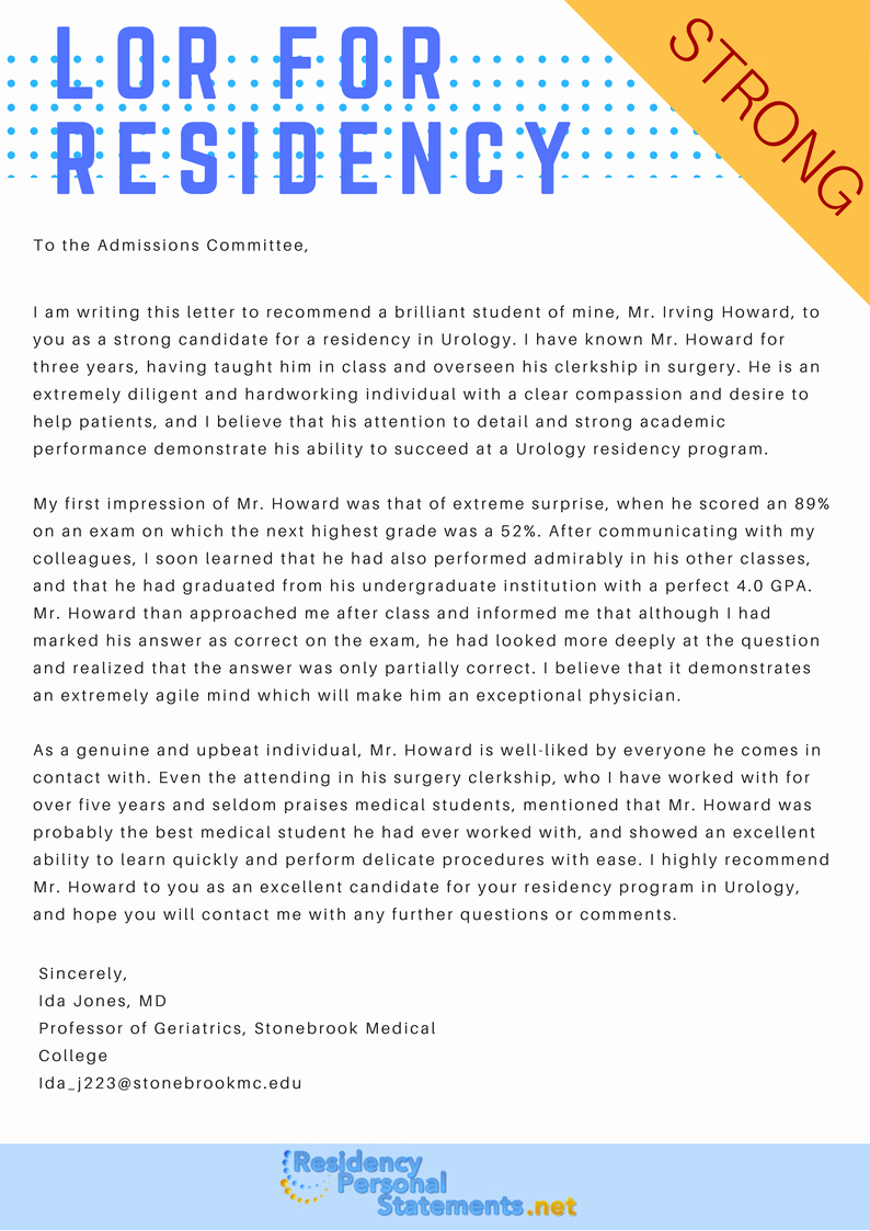Letter Of Recommendation Residency Template New Sample Letter Of Re Mendation for Residency
