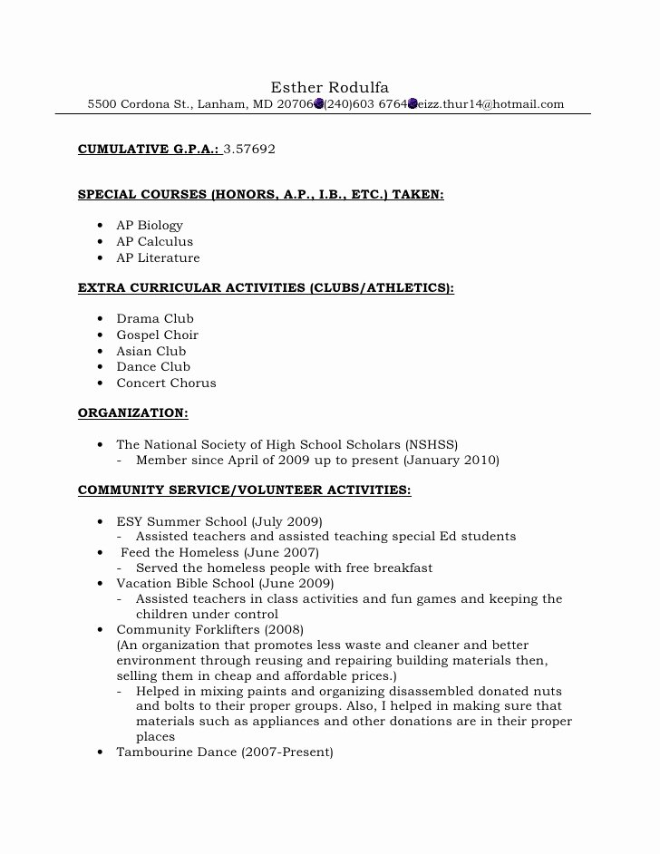resume format for re mendations