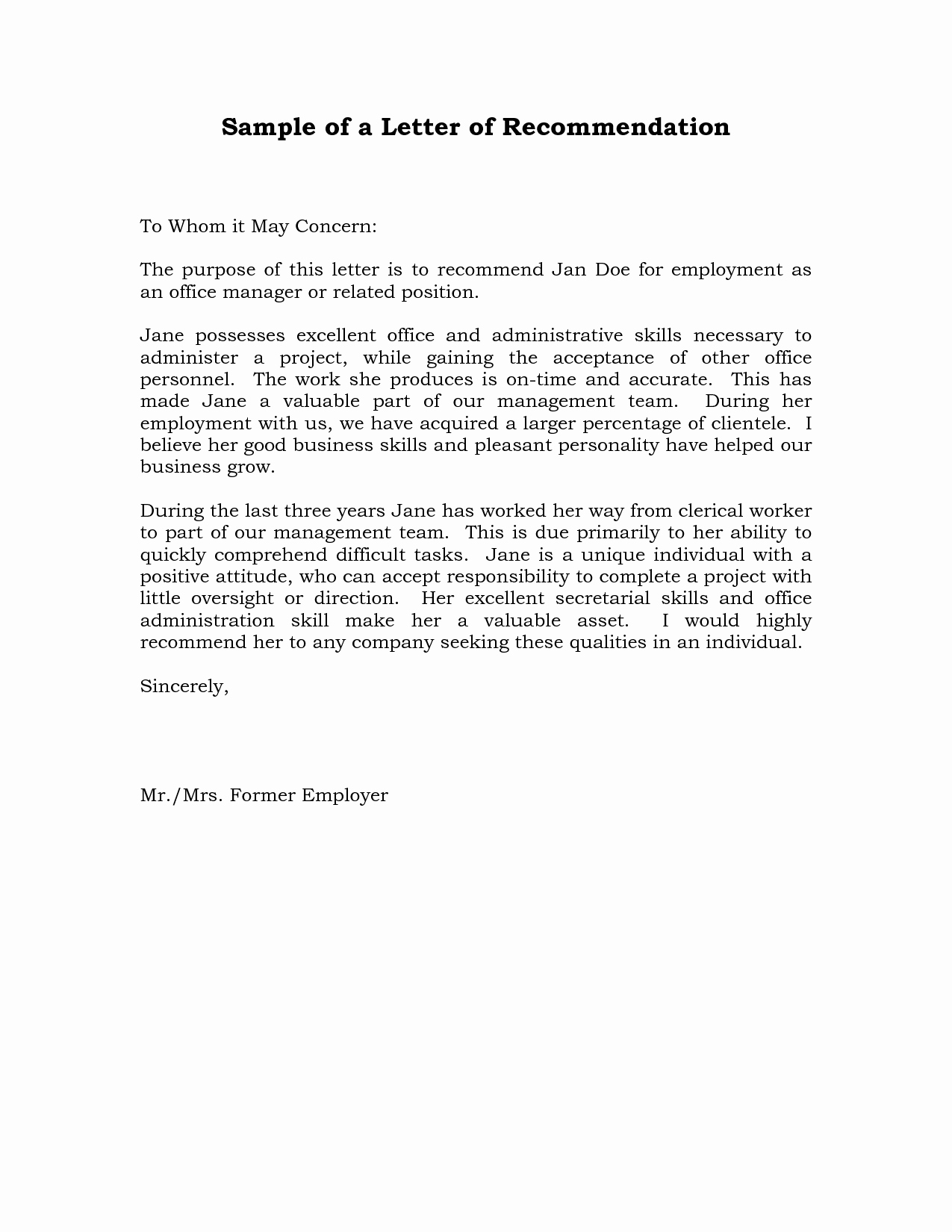 Letter Of Recommendation Resume New Reference Letter Of Re Mendation Sample
