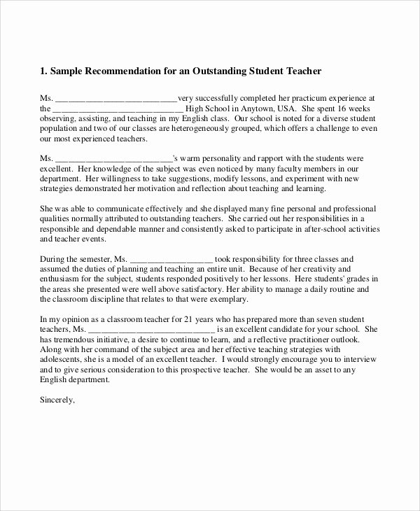 Letter Of Recommendation Sample Teacher Best Of 8 Sample Teacher Re Mendation Letters