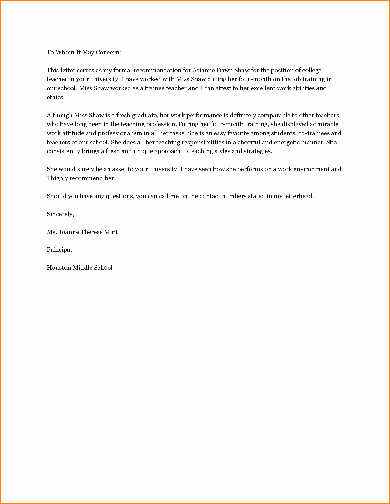 Letter Of Recommendation Sample Teacher New 11 Re Mendation Letter for Scholarship From Teacher