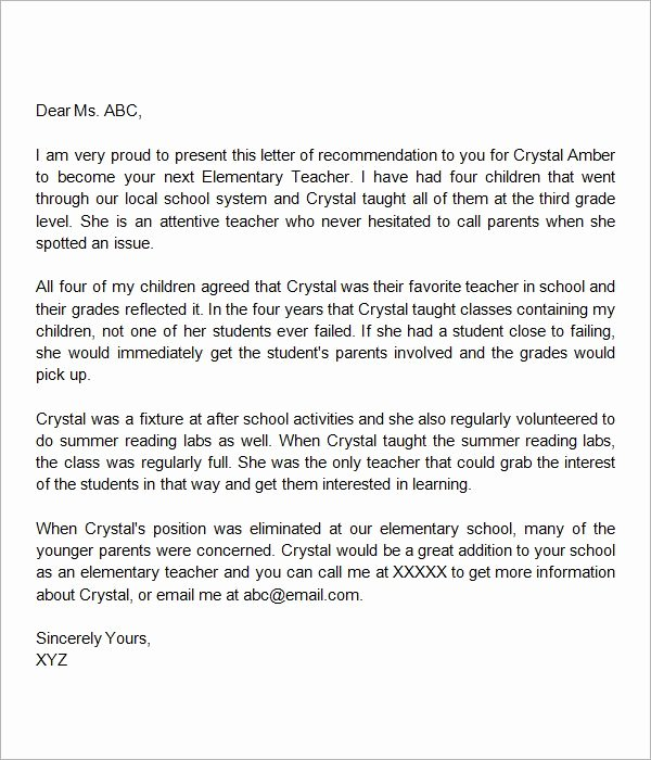 Letter Of Recommendation Sample Teacher New Letter Of Re Mendation Elementary Teacher