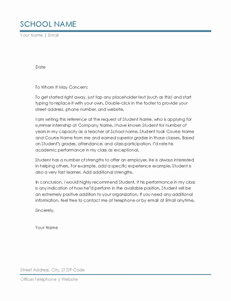 Letter Of Recommendation Sample Teacher New Reference Letter From Teacher