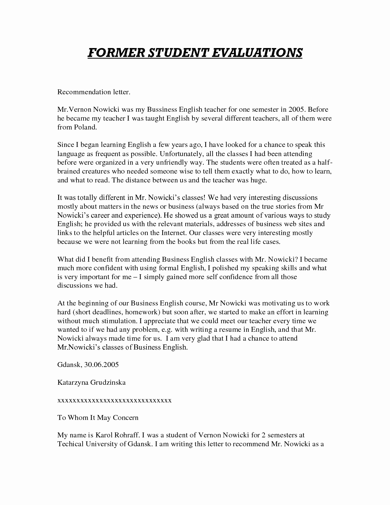 Letter Of Recommendation Sample Teacher New Sample Letter Of Re Mendation for Teacher