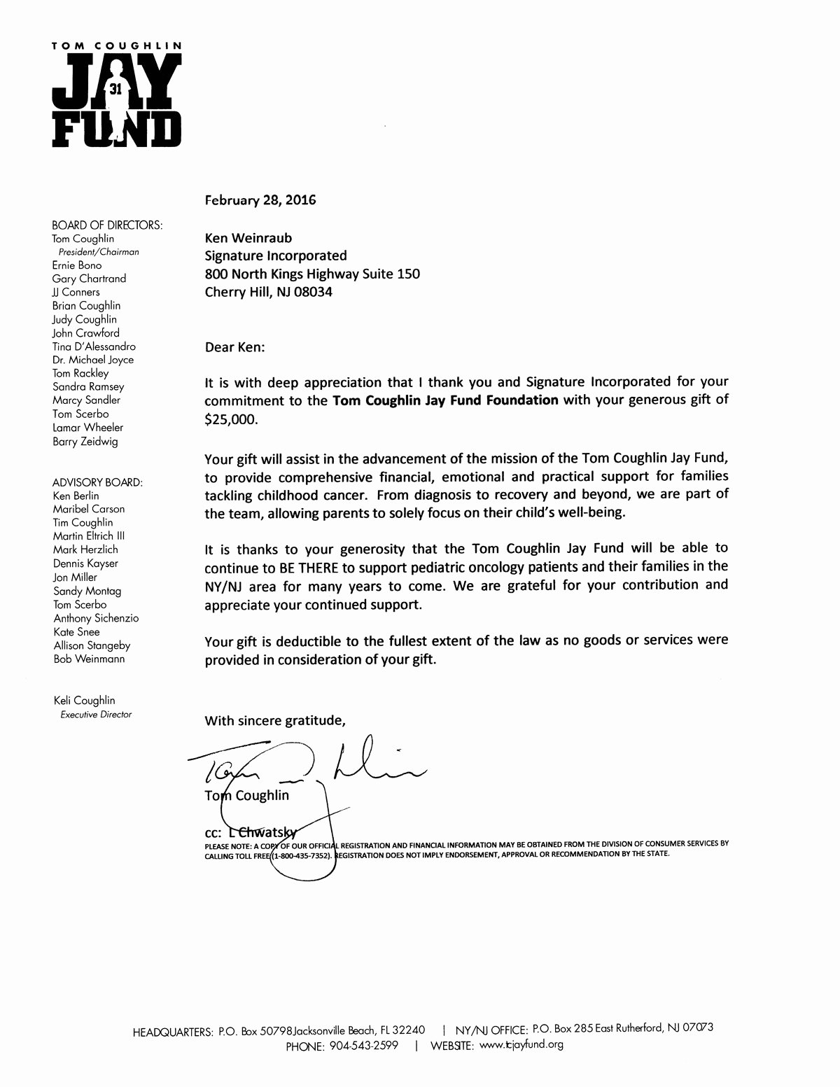 Letter Of Recommendation Signature Lovely Signature Supports the tom Coughlin Jay Fund Foundation