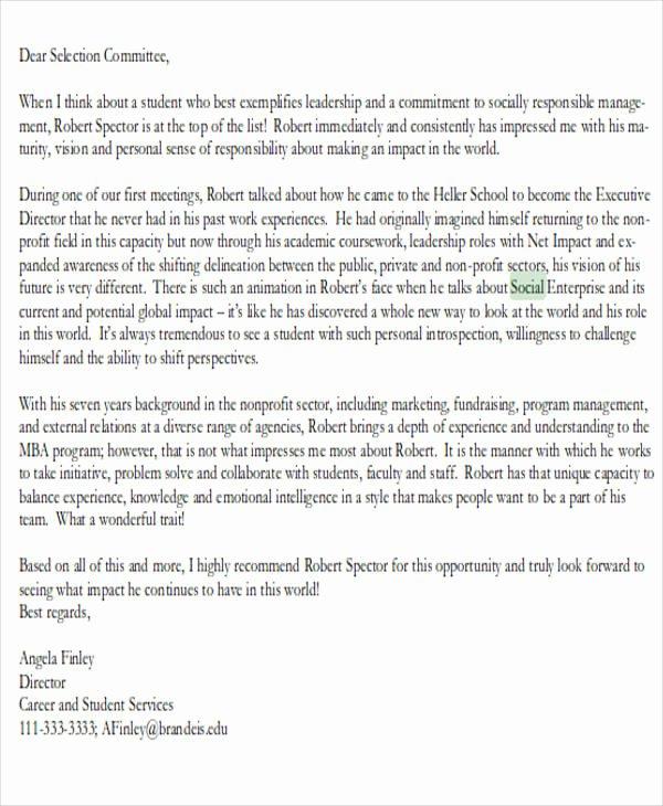 Letter Of Recommendation social Work Elegant 7 Graduate School Re Mendation Letters Free Sample