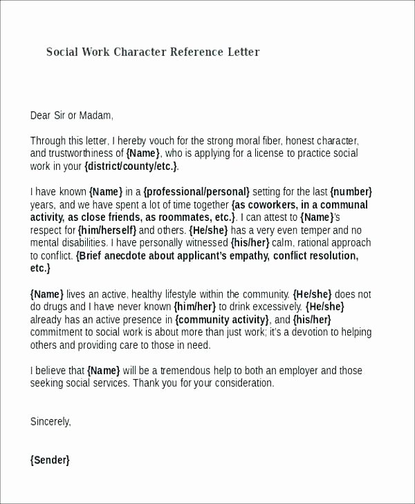 Letter Of Recommendation social Work Unique Reference Letter Template Free Word Document S Excellent