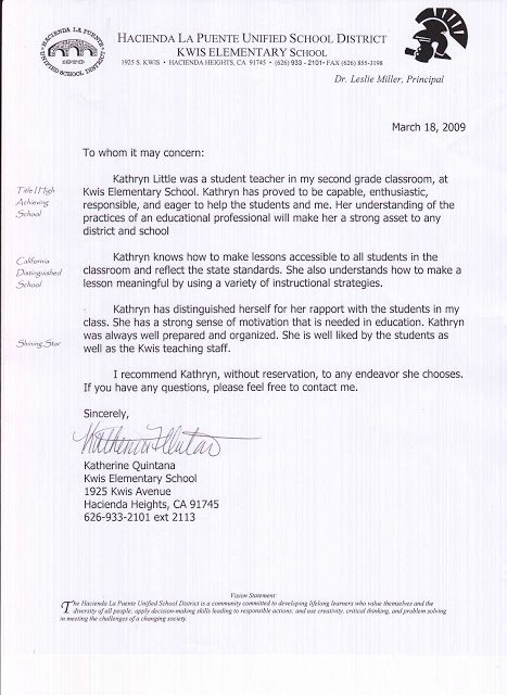 Letter Of Recommendation Student Teacher Beautiful Kathryn Little Letters Of Re Mendation Student Teaching