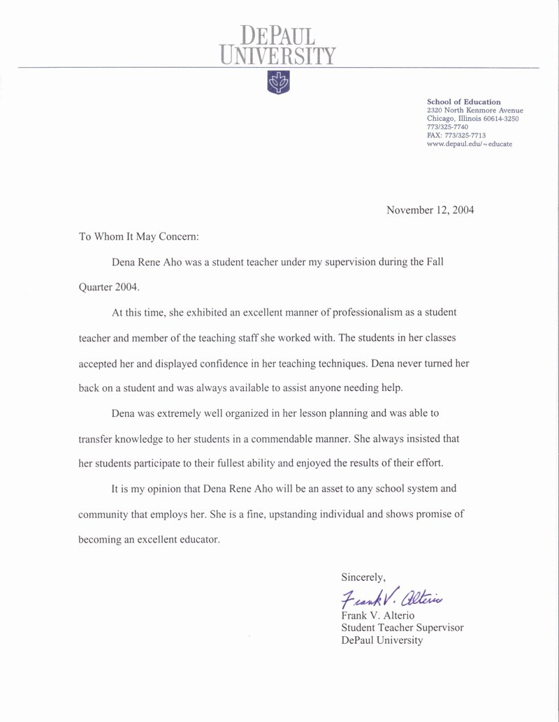 Letter Of Recommendation Student Teacher Lovely Student Teacher Letter Re Mendation