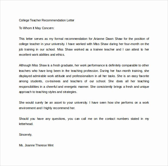 Letter Of Recommendation Student Teacher New 18 College Re Mendation Letters Pdf Word