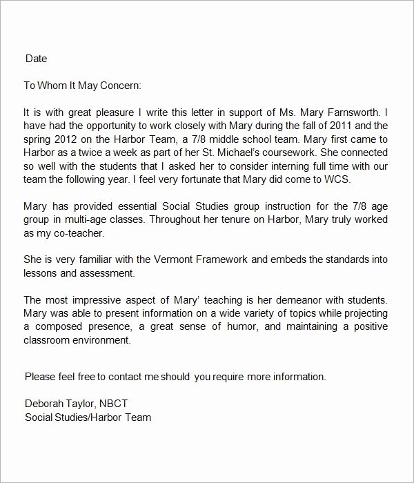 Letter Of Recommendation Student Teacher Unique 13 Letters Of Re Mendation for Teacher