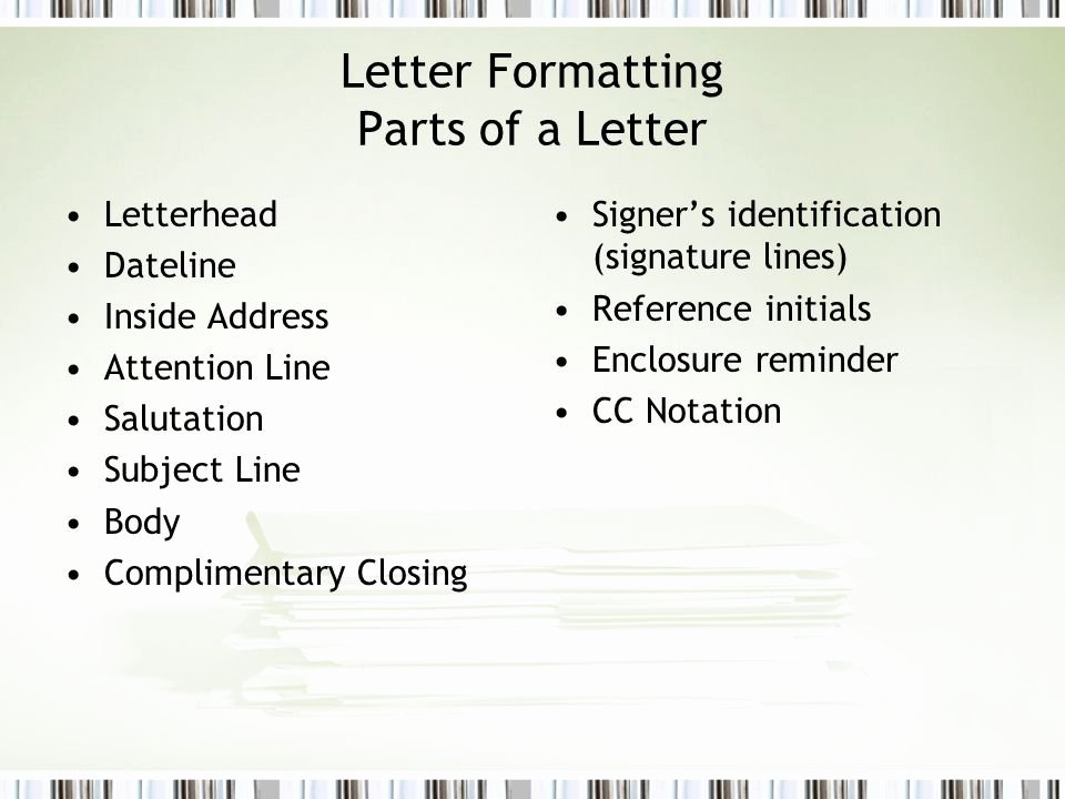Letter Of Recommendation Subject Line Beautiful formatting Business Documents Ppt Video Online