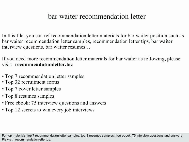 Letter Of Recommendation Subject Line Elegant Cover Letter Re Mendation Waitress Re Mendation Letter