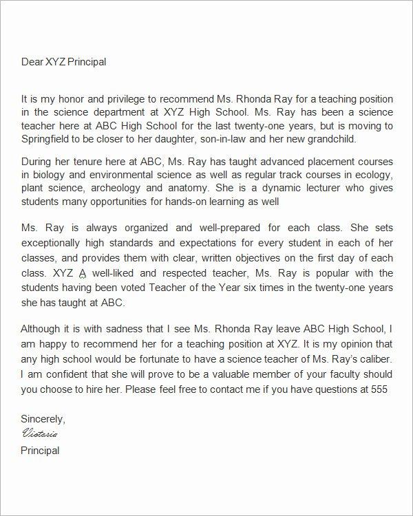 Letter Of Recommendation Teacher Awesome 19 Letter Of Re Mendation for Teacher Samples Pdf Doc