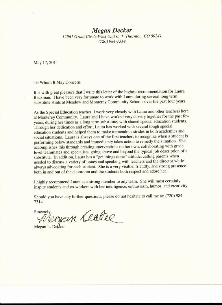 Letter Of Recommendation Teacher Best Of Letter Of Re Mendation From Special Education Teacher