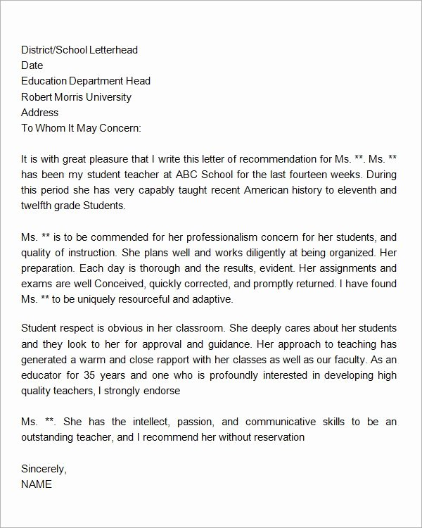 Letter Of Recommendation Teacher Elegant Letter Of Re Mendation for Student Letter