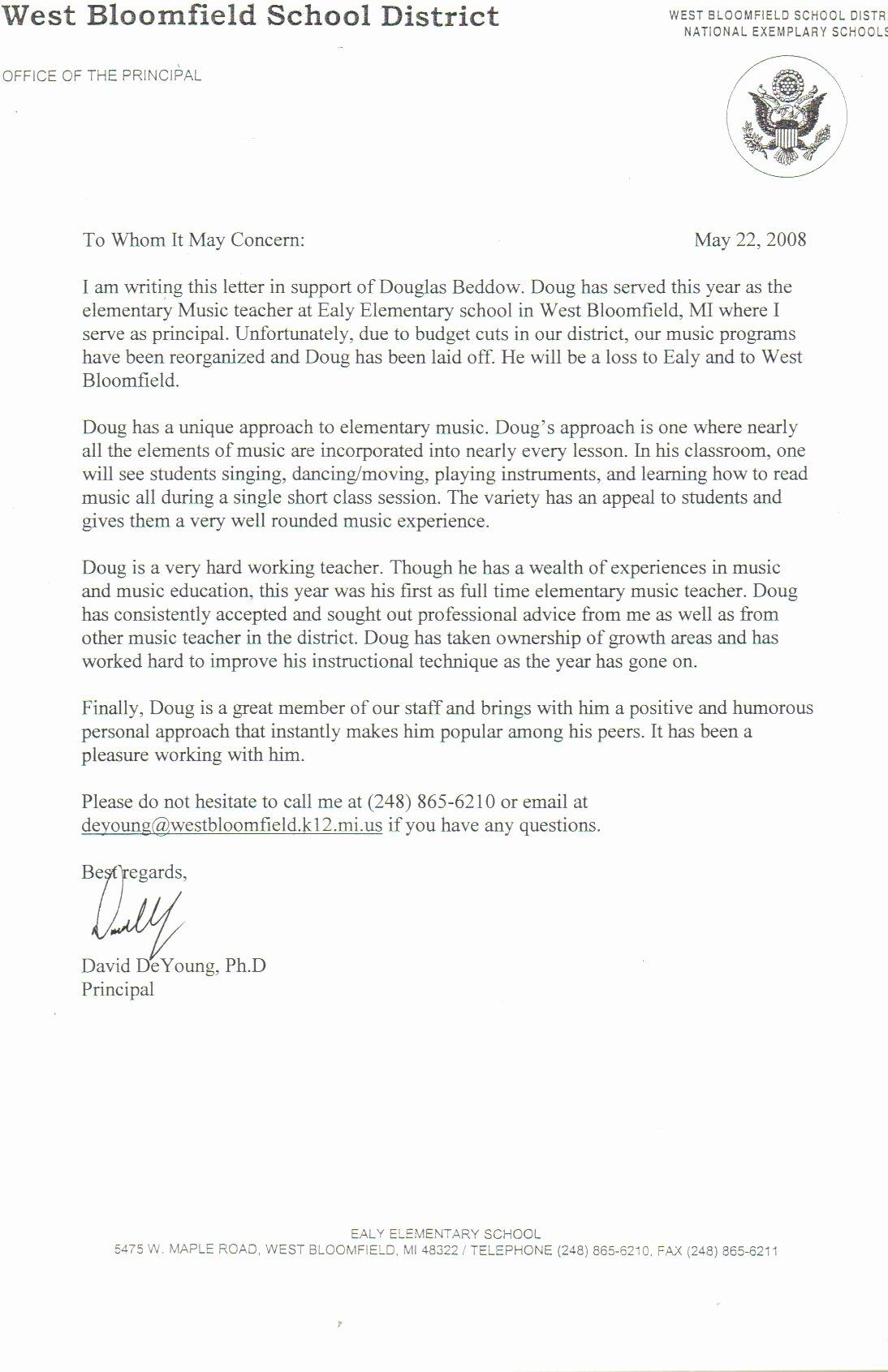 Letter Of Recommendation Teacher Elegant Sample Letter Re Mendation for A Satisfactory Teacher