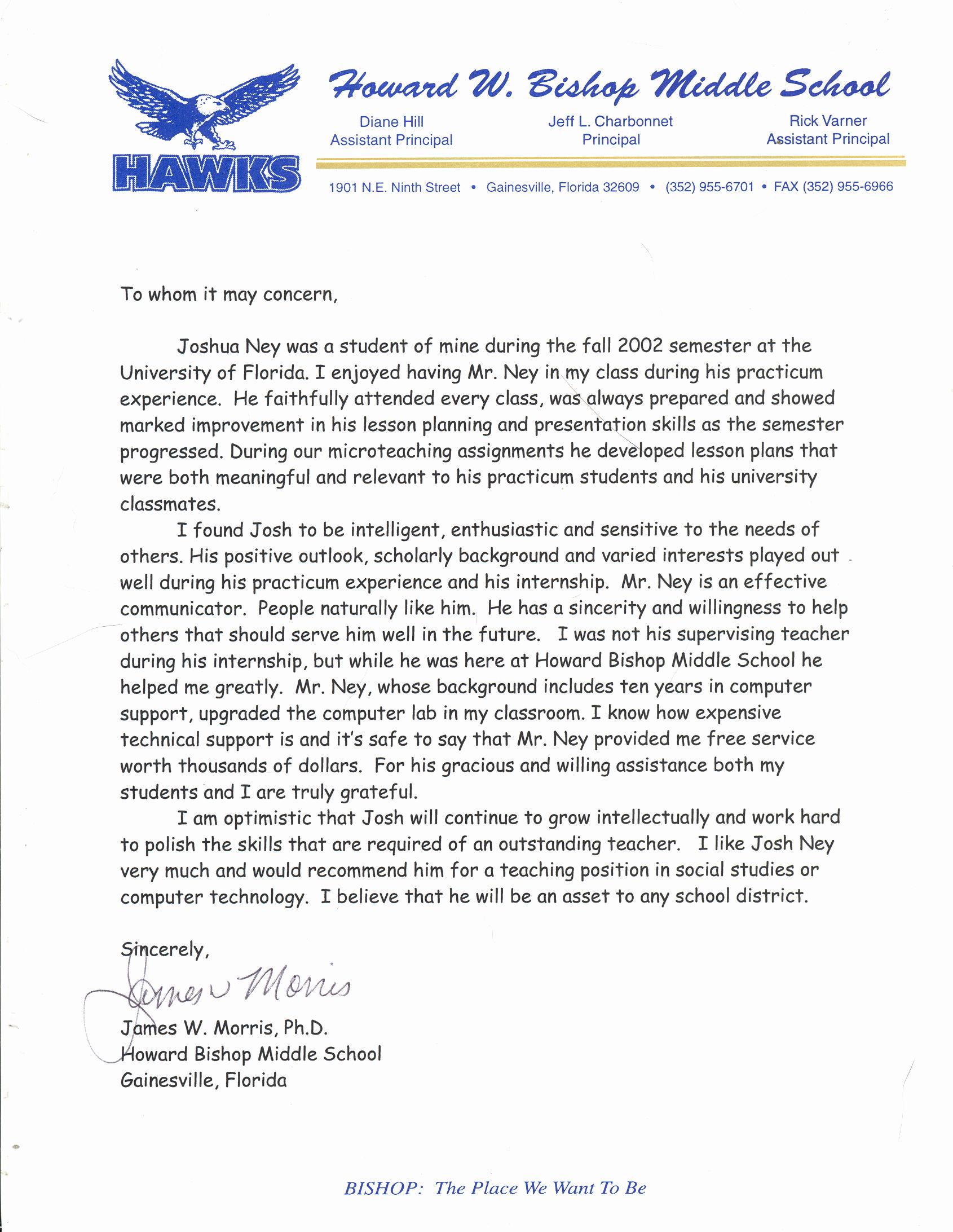 Letter Of Recommendation Teacher Fresh Sample Letter Of Re Mendation for Teacher
