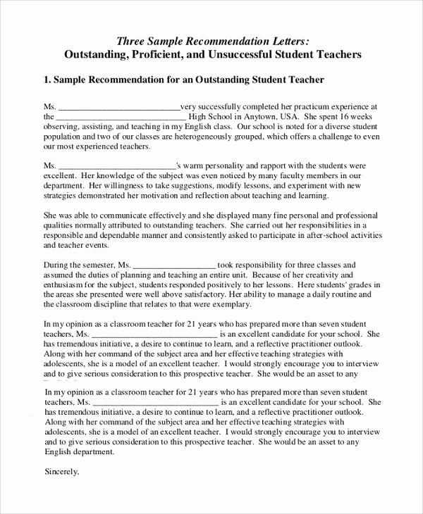 Letter Of Recommendation Teacher Inspirational Sample Letter Of Re Mendation for Teacher 18