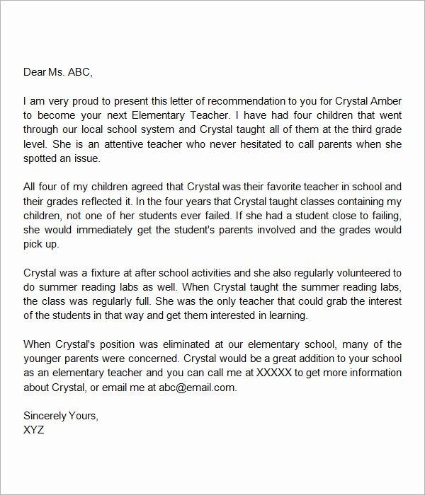 Letter Of Recommendation Teacher Luxury Sample Letters Of Re Mendation for Teacher 12
