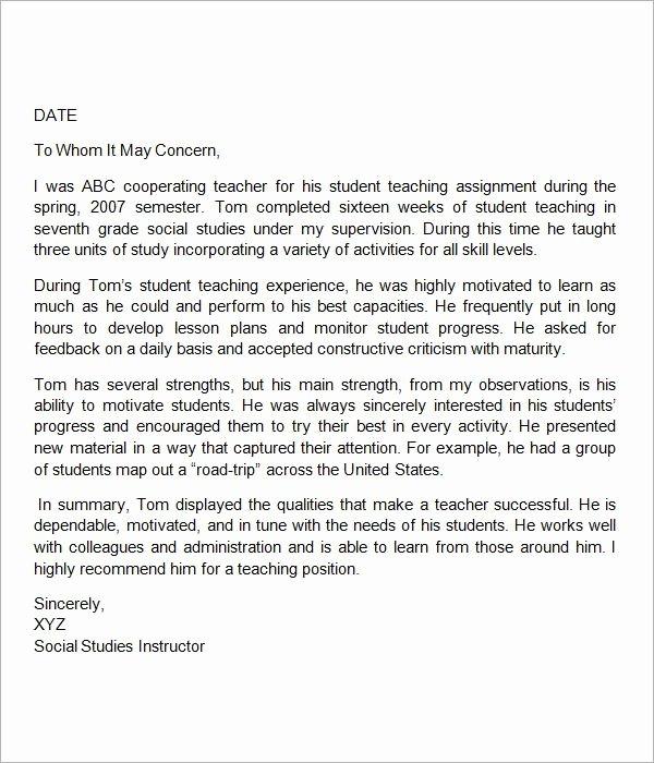 Letter Of Recommendation Teacher New Sample Letter Of Re Mendation for Teacher