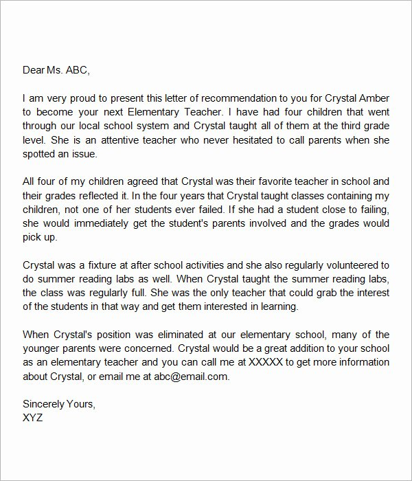 Letter Of Recommendation Teachers Elegant Sample Letters Of Re Mendation for Teacher 12