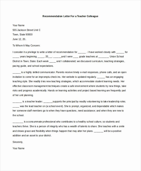 Letter Of Recommendation Teaching Inspirational Sample Teacher Re Mendation Letter 8 Free Documents