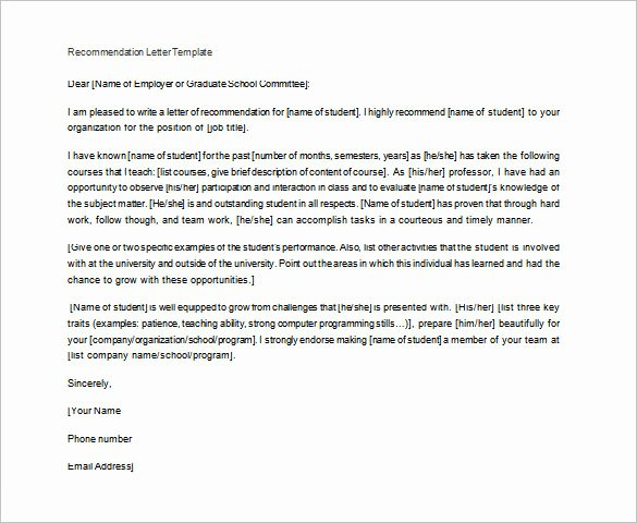 Letter Of Recommendation Template Teacher Awesome Letter Of Re Mendation for Teacher – 12 Free Word
