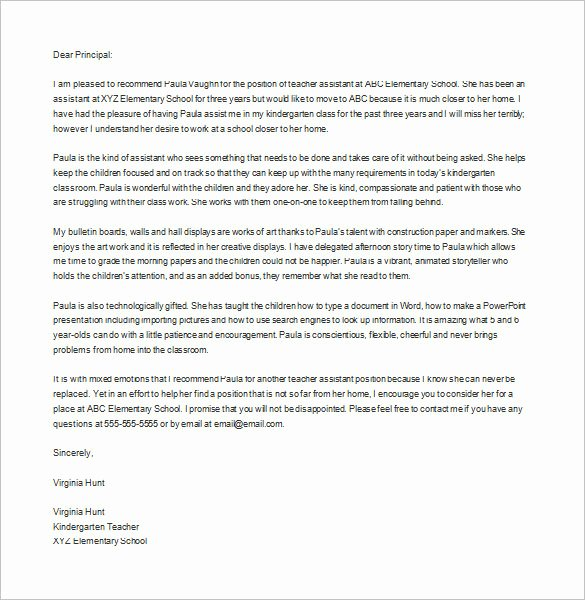 Letter Of Recommendation Template Teacher Lovely Letter Of Re Mendation for Teacher – 12 Free Word