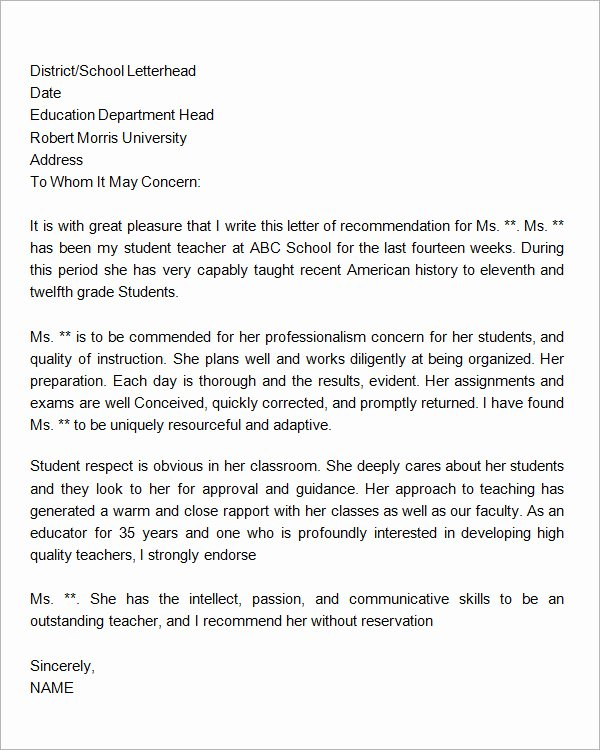Letter Of Recommendation Template Teacher Luxury 19 Letter Of Re Mendation for Teacher Samples Pdf Doc