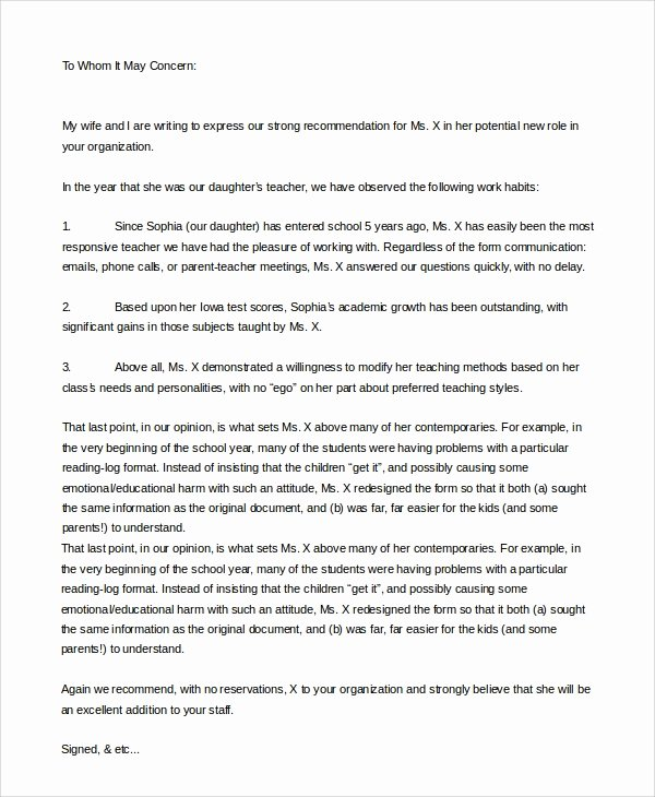 Letter Of Recommendation Template Teacher Luxury 8 Sample Letters Of Re Mendation for Teacher