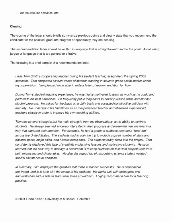Letter Of Recommendation Template Teacher New How to Write A Captivating Re Mendation Letter for