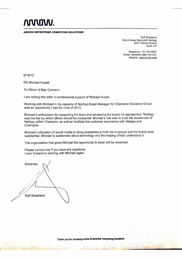 Letter Of Recommendation Thank You Luxury Arrow Reference Letter I Thank You Arrow Electronics