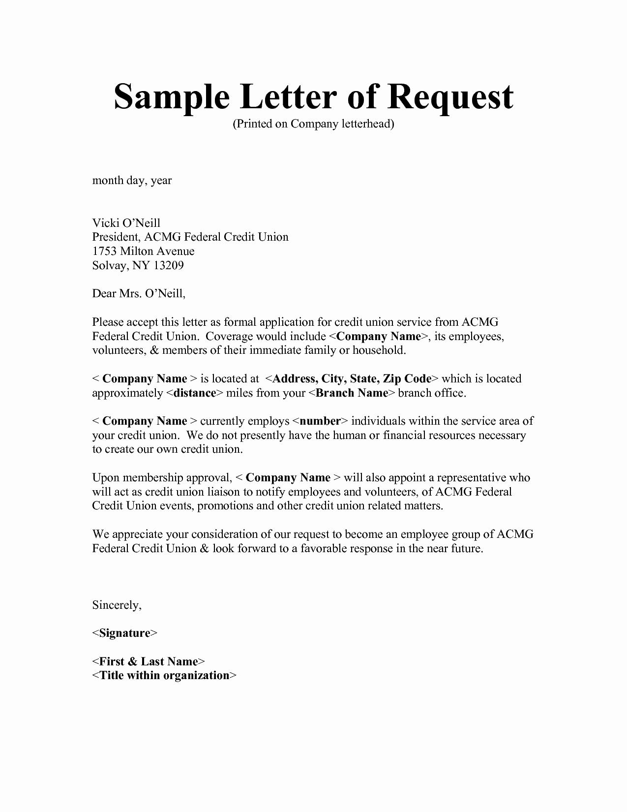 Letter Of Request format Unique Letter Request format